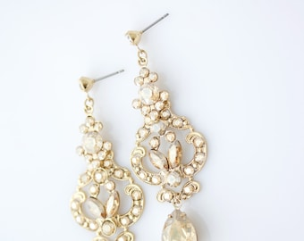 Bridal Earrings Vintage Style Rhinestone Earrings Champagne Earrings Swarovski Crystal Golden Shadow Gold Wedding Jewelry FRANCES MID