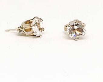 White Topaz gemstone sterling silver ear-rings - 6mm stones
