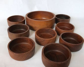 Genuine Teakwood Bowls, Made in Thailand, By Action Industries Inc., Wood Bowls, Salad Bowl, Teak Serving Bowl Set, Boho Chic, Retro Bowls
