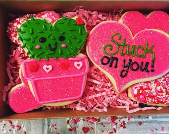 I'm stuck on you! Adorable valentines day cookie gift box!