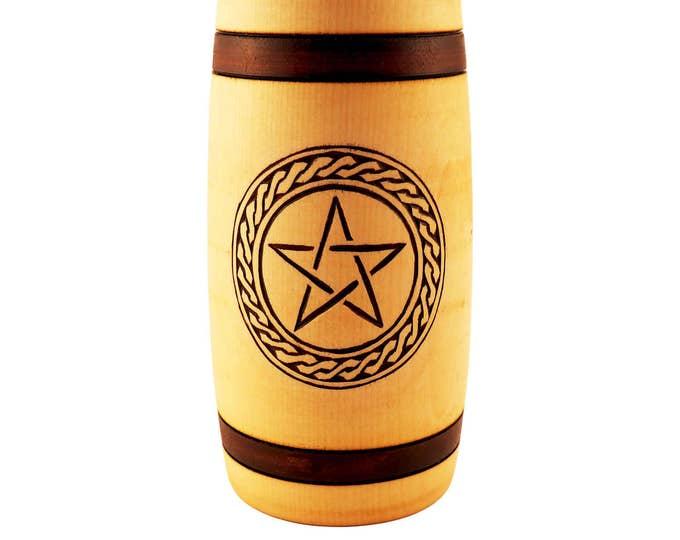 Hand Carved Wooden Beer Mug 0.7 litre ( 23 oz ) with Pentagram and Plait