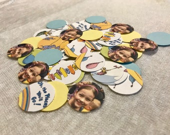 Oh The Places You'll Go Photo Confetti - 200 Pieces 1 Inch Round - Dessert Table - Baby Shower - Birthday Confetti -  Cupcake Toppers
