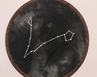 Pisces Constellation Hand Embroidered Wall Hanging * Astrology Constellation *