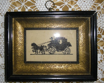 Vintage Picture Small Embroidered Picture Scottish Highland