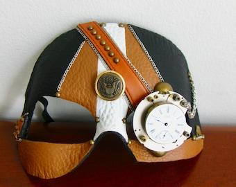 Steampunk Mask, Black and Butterscotch Leather, Clock Gears  - BoneShaker