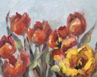 Tulips Original Oil Floral Painting 6 x 8""