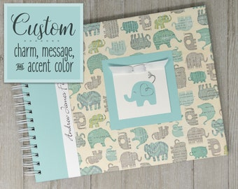 Boy Baby Book | Elephant Baby Book | Baby Memory Book | Personalized Baby Album | Blue Elephants Baby Book | Safari | Jungle | Circus