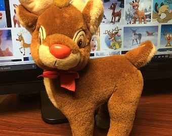 Vintage Applause Christmas  Rudolph The Red Nosed Reindeer plush Stuffed animal