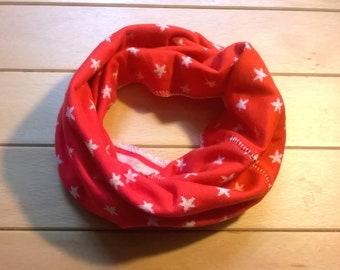 Knitted/choker Double face stripes/stars Red/white in organic cotton KdA GOTS certified, Oeko-Tex