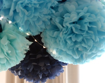 Paper Pom Poms set- 10 poms - 3 sizes - pick your colors - wedding party decorations / Bridal Baby Shower  / 1st Birthday