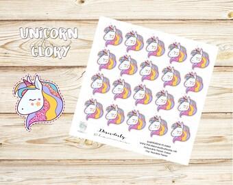 Unicorn Stickers - Glitter Unicorn Stickers - Rainbow stickers - Party Stickers - Birthday Stickers -Planner stickers - Erin Condren - Cute