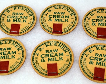 Set of 6 Vintage J. B. Keener Raw Cream and Milk Bottle Cap Hagerstown Maryland Route No. 6