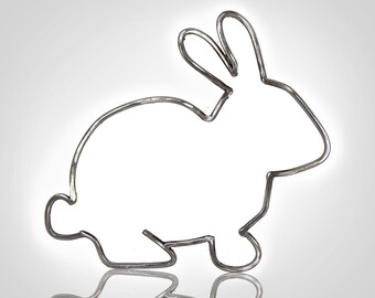 Metal Bunny Outline, Metal Rabbit Outline, Bunny Sculpture, Metal Wall Art, Metal Animal Art, Cute Bunny Decor, Bunny Lover, Rabbit Lover