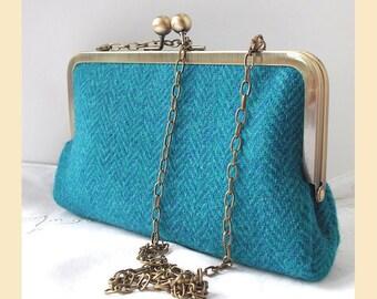 Harris Tweed shoulder bag, teal, turquoise, tweed purse, herringbone tweed clutch bag, red silk lining, optional personalisation