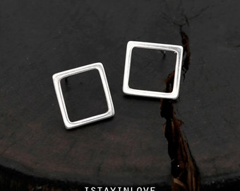Sterling Silver Geometry Square Earring | Geometry Jewelry I Personalized Gift