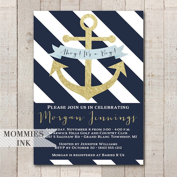 Nautical baby shower invitation navy and white invitation filmwisefo Images