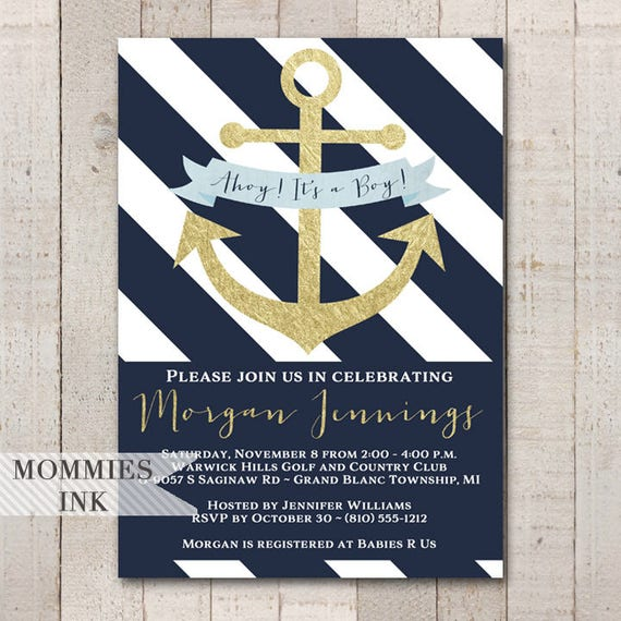Nautical Baby Shower Invitation Navy And White Invitation