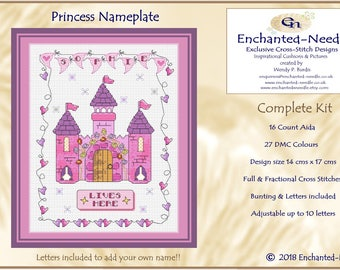 Bespoke Princess Castle Nameplate // Cross Stitch Sampler// Cross Stitch Bunting Roomplate// Girls Cross Stitch Gift // Etsy UK //