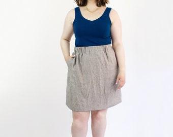 JoPa linen skirt, Capsule wardrobe skirt, Elasticized skirt with pockets, Handmade in Canada