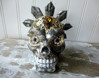 Art skull jeweled faux saintly relic skull skeleton head religious Gothic decor Mixed media assemblage Day of the Dead silvery patinaed foil