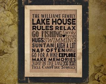 Lake House Rules | Family Name | swimming |  Burlap Print | Personalized | #0081