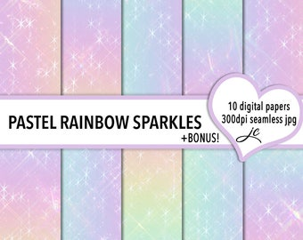 Pastel Rainbow Sparkles Digital Papers + BONUS Photoshop Pattern Files, Seamless, Textures, Backgrounds, Clipart, Personal & Commercial Use