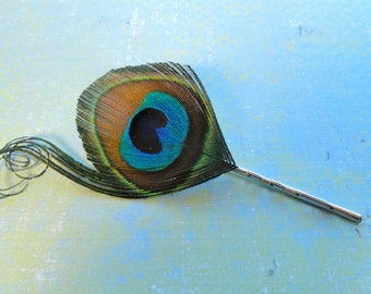 Natural Peacock and Curls Feather Bobby Pin, Feather Hair Pin