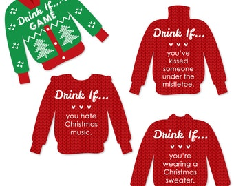 Drink If Ugly Sweater - Christmas Party Game - Holiday Office Party Drinking Game - Tacky Sweater Party Game Ideas - 24 Party Game Cards