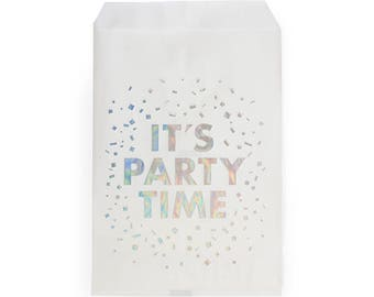 It's Party Time Confetti Holographic Foil Stamped Treat Bags