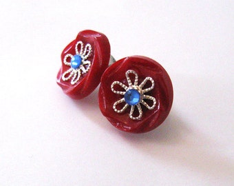 Red, White and Blue Button Earrings, Upcycled Vintage Art Deco Buttons, Hypoallergenic Posts, Patriotic Earrings
