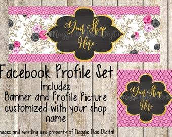 Rose Facebook Set, Facebook banner, Facebook graphics, Facebook cover photo, store graphics, timeline set, flowers, floral, fishnets, gold