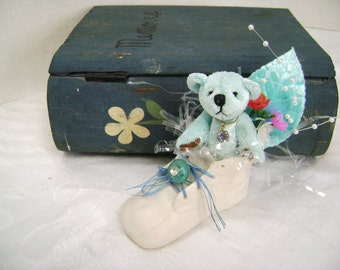 Embellished Baby Shoe, Porcelain, Blue, Teddy Bear, Nursery Decor, Package Decoration, Upcycle Vintage Assemblage, Its a Boy