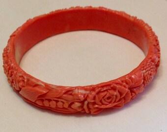 Vintage Coral Floral Carved Celluloid Bangle Bracelet - End of the Day Bracelet - 1930's - Art Deco Bracelet