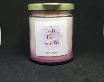 Pink Sangria 8 Ounce Homemade Soy Candle (Highly Scented)