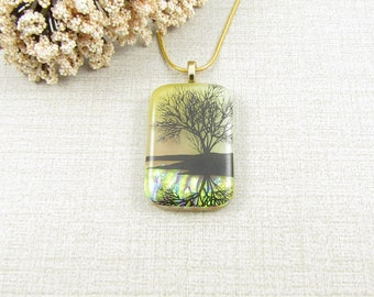 Dichroic Glass Reflection Tree Pendant - Gold and Caramel Brown Glass Tree Necklace - Handmade Nature Jewelry - Tree Pendant - Tree Jewelry