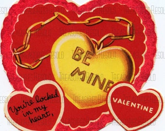 You're Locked In My Heart Be Mine Heart Locket Valentine Card #653 Digital Download