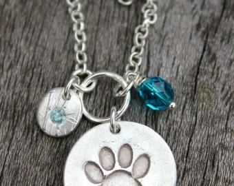 Birthstone pawprint pendant, pet lover birthday gift, birthstone pendant gift, gemstone paw print pendant, birthstone paw print necklace
