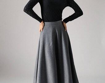 Long skirt, A line Skirt, wool skirt, gray skirt, ladies skirt, maxi skirt, flared skirt, full skirt, custom made skirt, winter skirt 1093