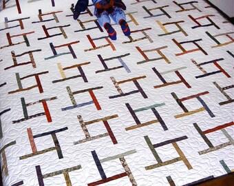 Easy PDF Quilt Pattern, Tumbling Tiles, Beginner Quilt Pattern, Instant Download Digital Quilt Pattern