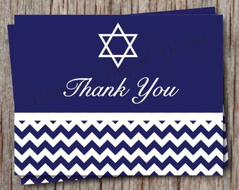 Bar Mitzvah Thank You Cards Religious Thank You Notes Instant Download Navy Blue Chevron Jewish - 012