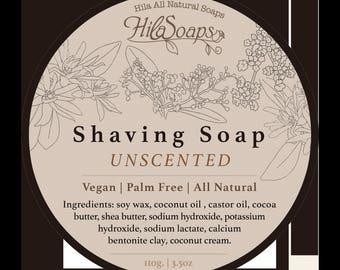 Shaving Soap Unscented, Vegan Shaving Soap, Sensitive Skin Shaving Soap, All Natural Shaving Soap, Men vegan gift, palm free Shaving Soap