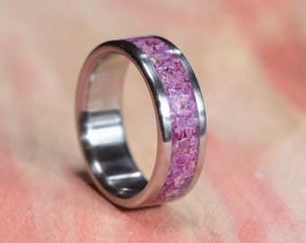 Titanium Ring, Sugilite Ring, Stone Ring, Wedding Ring, Mens Ring, Womens Ring, Purple Ring, Custom Made Ring, Engraved Ring, robandlean