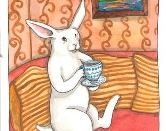 Original Watercolor Rabbit Painting - Cup of Tea