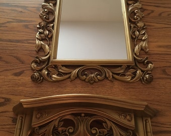 SYROCO GOLD MIRROR Large Ornate Rectangle 30 x 20 with Matching Shelf 19 x 7 Entryway Hollywood Regency at Florida Classics