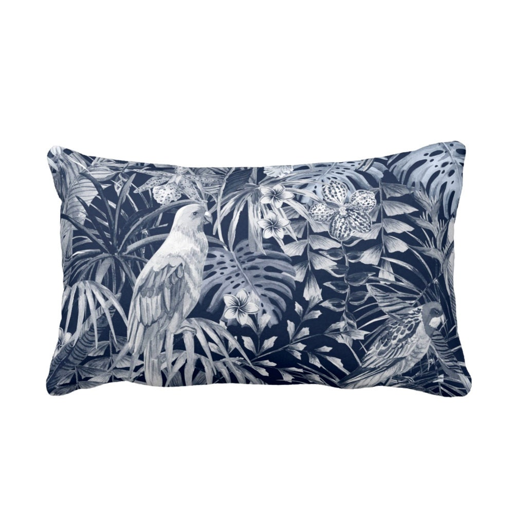 Navy Tropical Throw Pillow Cover 14 X 20 Lumbar Outdoor Or Indoor