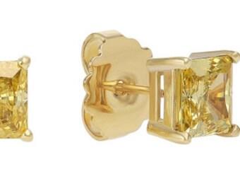 Vivid Yellow CZ Stud Earrings