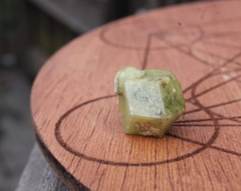 Green Garnet Crystal with Baby Sidecar / 6.5g Rough Raw Collector Mineral Specimen from Mali