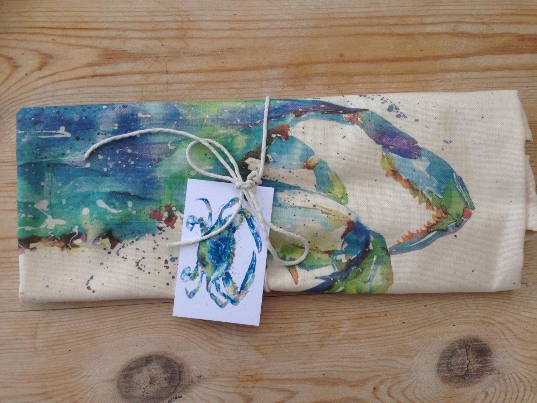 Entwerfer zeitgenössische blaue Krabbe Fisch Geschirrtuch 100