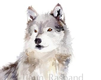 Grey Wolf- Watercolor Fine art prints, wall art, animal art, nursery decor