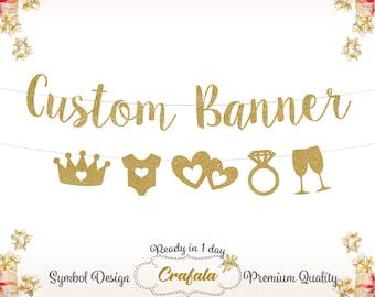 Custom Banner, Custom Glitter Banner, Glitter Banner, Glitter Garland, Custom Garland, Wedding Banner, Wedding Garland, Personalized, golden